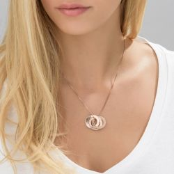 Rose Gold Tone Russian Ring Engraved Necklace Sterling Silver