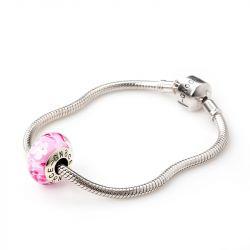Pink Flowers Glass Charm