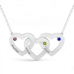 Interlocking Heart Sterling Silver  Personalized Necklace
