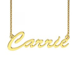 Gold Tone Carrie Style Sterling Silver Name Necklace