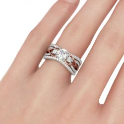 Two Tone Three Stone Round Cut Sterling Silver Ring Set