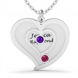 Two Heart Engraved Necklace with Birthstones Sterling Silver