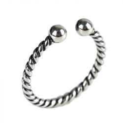 Rope Design Sterling Silver Open Ring