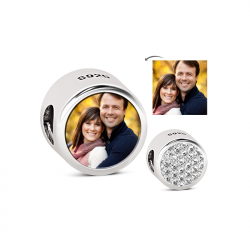 Round Shape Photo Charm Sterling Silver