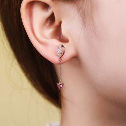 Rose Gold Tone Wings Earring Drops