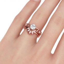 Flower Design Round Cut Sterling Silver Ring Set