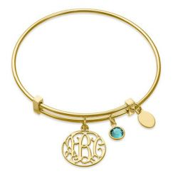 Gold Tone Monogram Bangle Sterling Silver