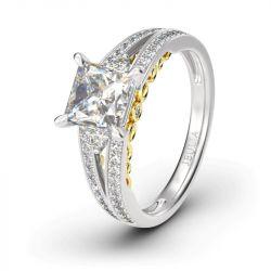 Split Shank Princess Cut  Sterling Silver Ring