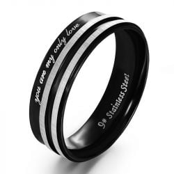 Black and White Stainless Steel Couple Rings