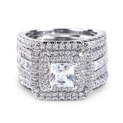Three Halo Princess Cut Sterling Silver Enhancer Ring Set