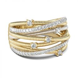 Thread Design Two Tone Sterling Silver Women's Band