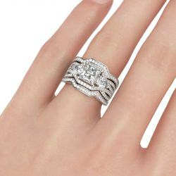 Three Stone Princess Cut Sterling Silver Ring Set