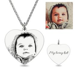 Heart Laser Engraved Personalized Photo Necklace Sterling Silver
