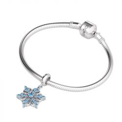 Heart Snowflake Charm Sterling Silver