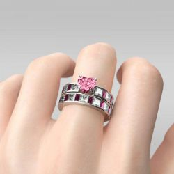 Jeulia Fancy Pink Heart Cut Sterling Silver Ring Set
