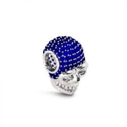 Skull Charm with Blue Stone  Sterling Silver