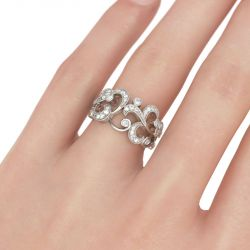 Scrollwork Round Cut Sterling Silver Women's Band