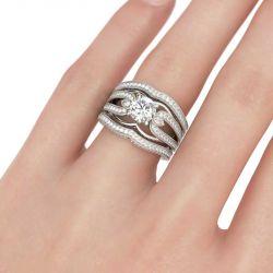 Vintage Milgrain Round Cut Sterling Silver Ring Set