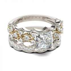 Milgrain Wavy Princess Cut Sterling Silver Ring Set