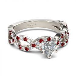 Jeulia Twist Heart Cut Sterling Silver Ring