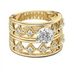 Gold Tone Round Cut Sterling Silver Ring Set