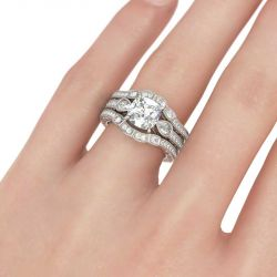 Three Stone Cushion Cut Sterling Silver 3PC Ring Set