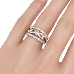 Jeulia Tri-tone Twist Sterling Silver Ring