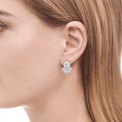 Halo Oval Cut Sterling Silver Stud Earrings