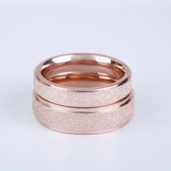 Rose Gold Tone Titanium Steel Couple Rings