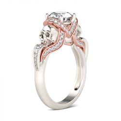Ribbon Round Cut Sterling Silver Skull Ring