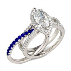 Halo Marquise Cut Sterling Silver Ring Set