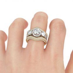 Halo Round Cut Sterling Silver Enhancer Ring Set