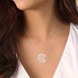 Block Monogram Necklace Sterling Silver