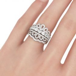 Round Cut Crown Motif Sterling Silver Ring Set