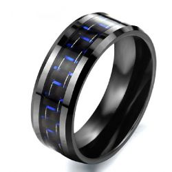 Blue Carbon Fibre Men's Band