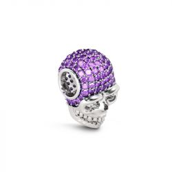 Skull Charm with Purple Stone Sterling Silver