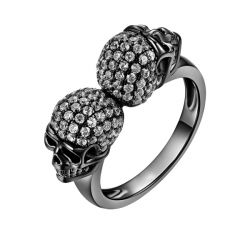 Jeulia Black Tone Sterling Silver Skull Ring