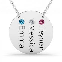 Three Name Engraved Family Necklace With Birthstones Sterling Silver