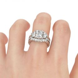 Jeulia  Three Stone Princess Cut Interchangeable Sterling Silver Ring Set