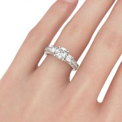 Milgrain Three Stone Round Cut Sterling Silver Ring