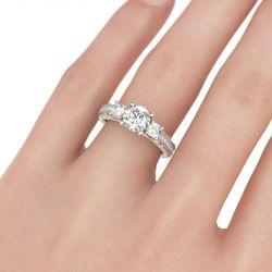 Milgrain Three Stone Round Cut Sterling Silver Ring
