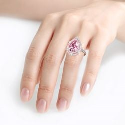 Double Halo Pear Cut Pink Stone Sterling Silver Ring