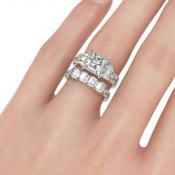 Jeulia  Art Deco Princess Cut Sterling Silver Ring Set
