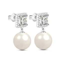 Halo Princess Cut Created Pearl Sterling Silver Earrings
