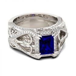Vintage Radiant Cut Sterling Silver Ring Set