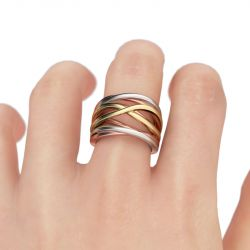 Three Tone Intertwined Sterling Silver  Ring