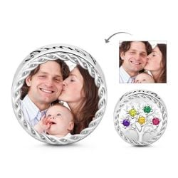 Colorful Stones Family Tree Photo Charm Sterling Silver