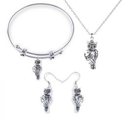 Cute Owlet With Stars Sterling Silver Jewelry Set