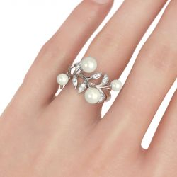 Leaf Faux Pearl Sterling Silver Women's Band