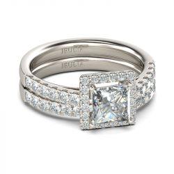 Halo Princess Cut Sterling Silver Ring Set